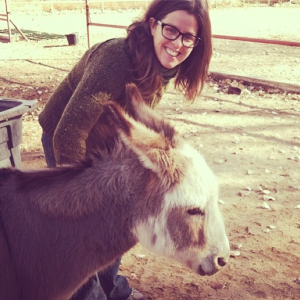 Leigh with a donkey